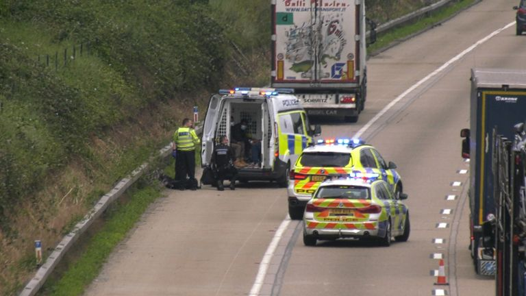 Police conducting a search after receiving reports people were on board the lorry