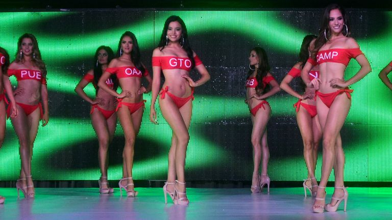 Miss Mexico contestants pose with swimming suits during the Miss Mexico beauty pageant where some contestants tested positive for the coronavirus disease (COVID-19) along with one staff member, in Chihuahua, Mexico June 30, 2021. Picture taken June 30, 2021. Courtesy of El Diario/Handout via REUTERS ATTENTION EDITORS - THIS IMAGE HAS BEEN SUPPLIED BY A THIRD PARTY. NO RESALES. NO ARCHIVES
