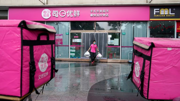 A shop of MissFresh is seen at a street in Shanghai, China June 10, 2021