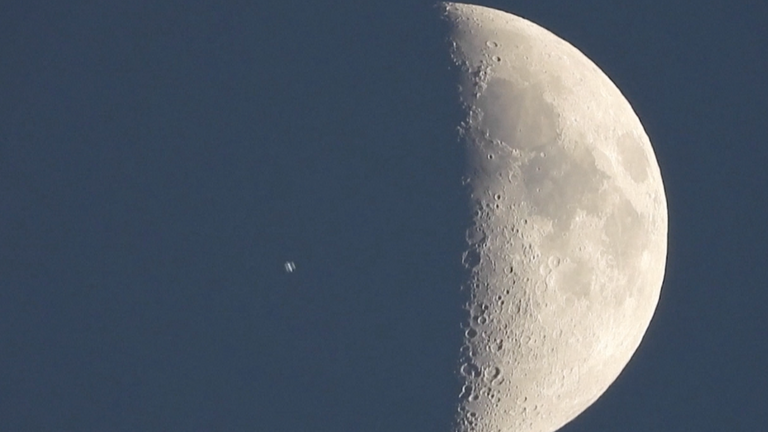 The ISS is seen transiting the Moon from the Canary Islands