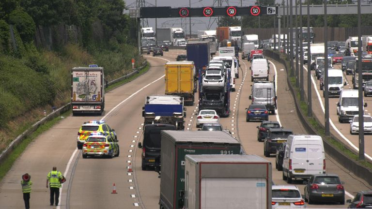 A motorist told Sky News how the traffic was 'backed up for miles'