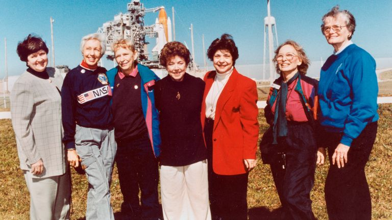 Members of the FLATs, also known as the Mercury 13, attend a shuttle launch in 1995. Pic: NASA/AP
