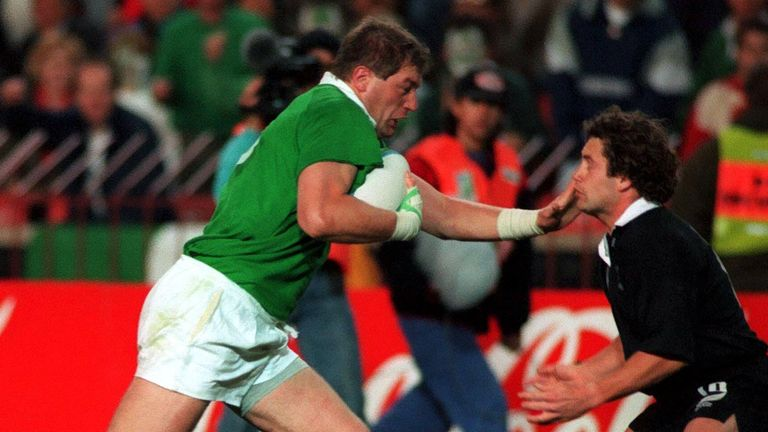 Rugby Union - Ireland v New Zealand , World Cup 1995 Mandatory Credit: Action Images / Stuart Franklin Ireland's Neil Francis Drives for the line but New Zealand's Marc Ellis Tries to get in the way