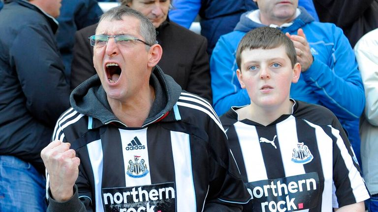 Newcastle United fans cheer on their team during the Premier League football match between Newcastle United and Chelsea FC, at St. James' Park, Newcastle upon Tyne, England...Barclays Premier League..Newcastle United v Chelsea.