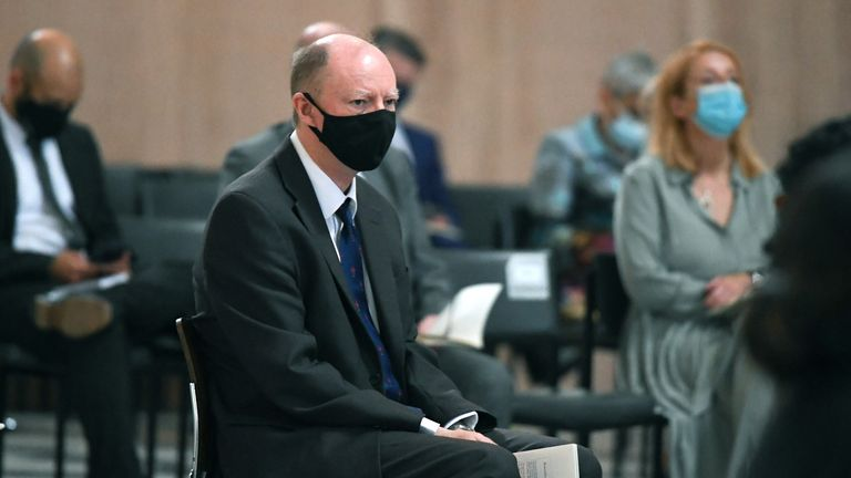 Chief Medical Officer Professor Chris Whitty takes his seat at the NHS service of commemoration and thanksgiving to mark the 73rd birthday of the NHS at St Paul's Cathedral, London. Picture date: Monday July 5, 2021.