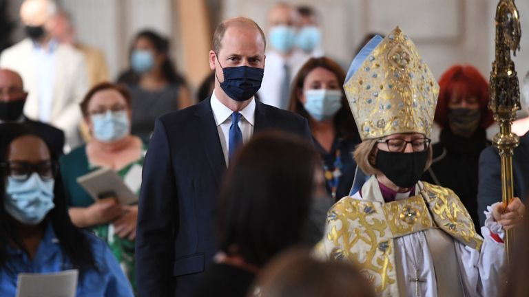 The Duke of Cambridge arrives at the NHS service of commemoration and thanksgiving to mark the 73rd birthday of the NHS at St Paul's Cathedral, London. Picture date: Monday July 5, 2021.
