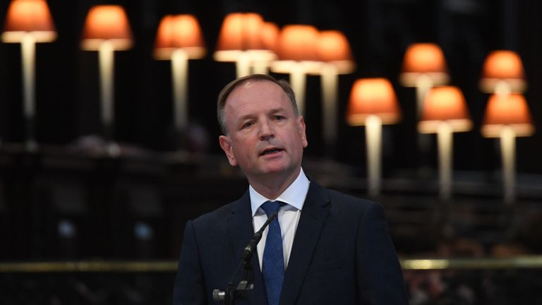NHS England chief executive Sir Simon Stevens speaks at the NHS service of commemoration and thanksgiving to mark the 73rd birthday of the NHS at St Paul's Cathedral, London. Picture date: Monday July 5, 2021.