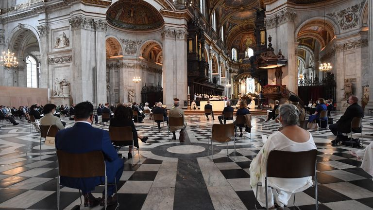 A view of guests during the NHS service of commemoration and thanksgiving to mark the 73rd birthday of the NHS at St Paul's Cathedral, London. Picture date: Monday July 5, 2021.