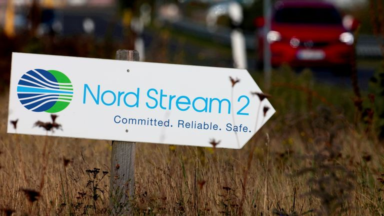 The Nord Stream 2 gas line landfall facility entrance in Lubmin, Germany