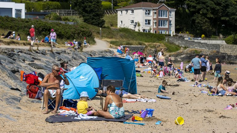 Places such as Helen's Bay beach in County Down have been baking in the sun in recent days