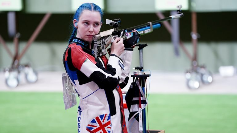 Great Britain's Seonaid McIntosh in action during the 10m Air Rifle Women's Qualification at the Asaka Shooting Range on the first day of the Tokyo 2020 Olympic Games in Japan. Picture date: Saturday July 24, 2021.