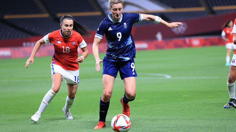 Team GB's Ellen White (C), who scored both goals, seen in the second half of the 2-0 win over Chile in Sapporo