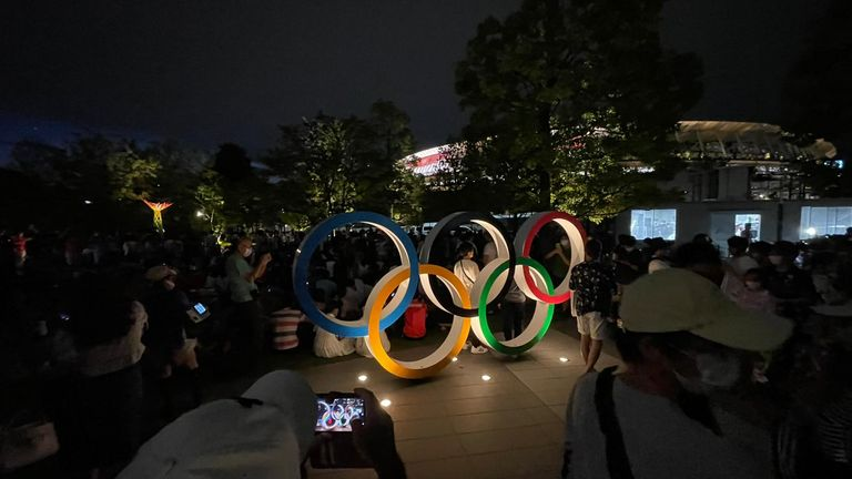 Protesters outside the Tokyo Olympics Stadium