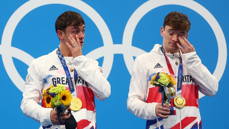 Tom Daley and Matty Lee emotional after picking up gold in Tokyo