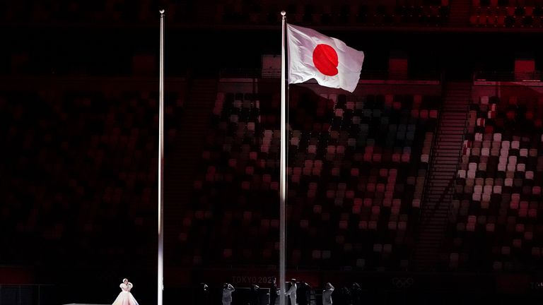 Japan's flag is hoisted high during the opening ceremony of Tokyo 2021. Pic AP