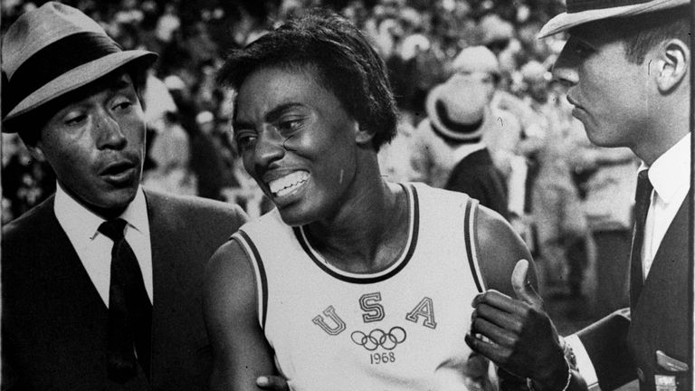 Wyomia Tyus moments after winning her second 100m gold in 1968 in Mexico City
