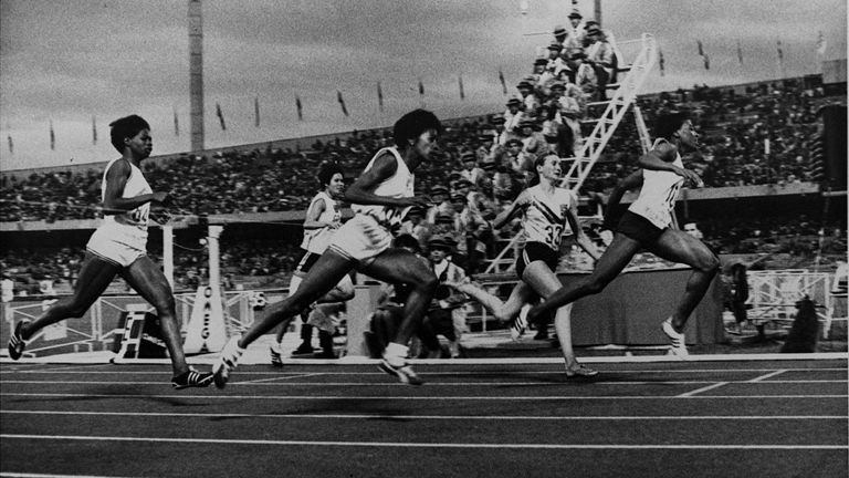 Tyus wins her second gold medal in the 100m at the 1968 Olympics