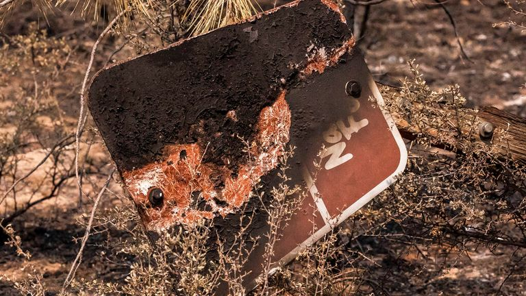 The remains of a charred sign marking a US National Forest road in Oregon Pic: AP
