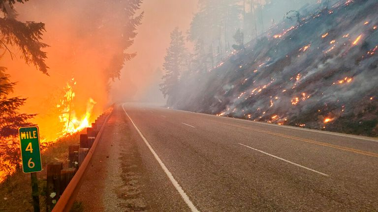Flames from the Jack Fire burn along a road in Oregon