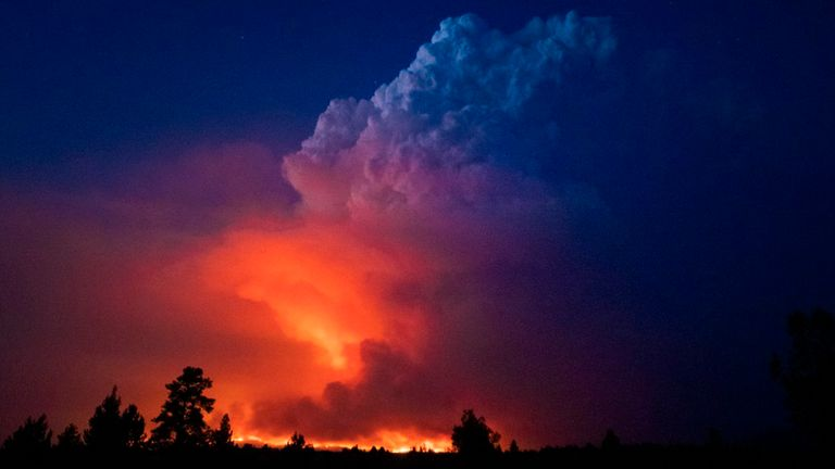 The Bootleg wildfire in southern Oregon. Pic: AP