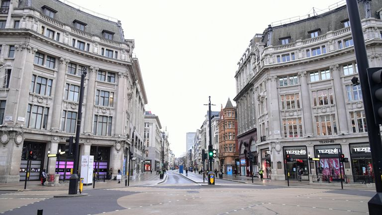 A quiet Oxford Circus in London, the day after Prime Minister Boris Johnson set out further measures as part of a lockdown in England in a bid to halt the spread of coronavirus