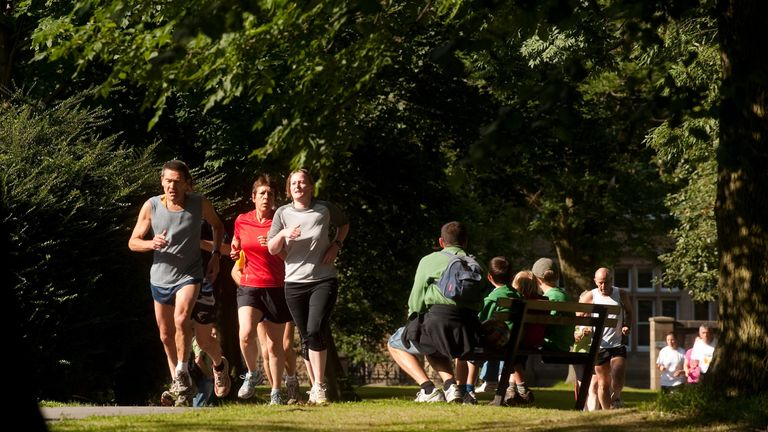 Participants in the 5km parkrun around Hyde Park in Leeds, The parkrun is one of the activities taking place around the country as part of the London 2012 Open Weekend.