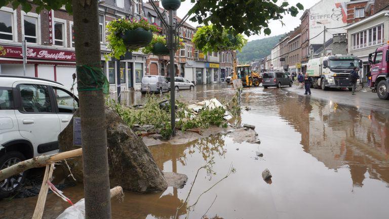 Pepinster in Belgium was flooded