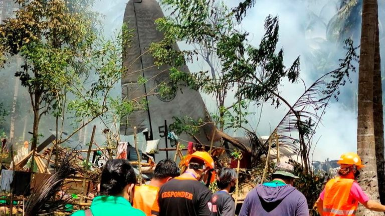 The aircraft crashed in the mountainous town of Patikul in southern Sulu province.
