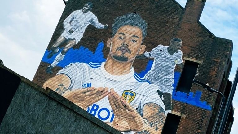 The Kalvin Phillips mural in central Leeds which was painted by street artist Akse in the winter. He features alongside Leeds United legends  Lucas Radebe and Albert Johanneson