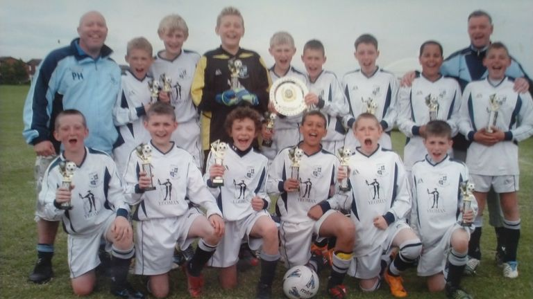 Kalvin Phillips far right back row with coaches Ian Thackray and Paul Hatfield at Wortley FC