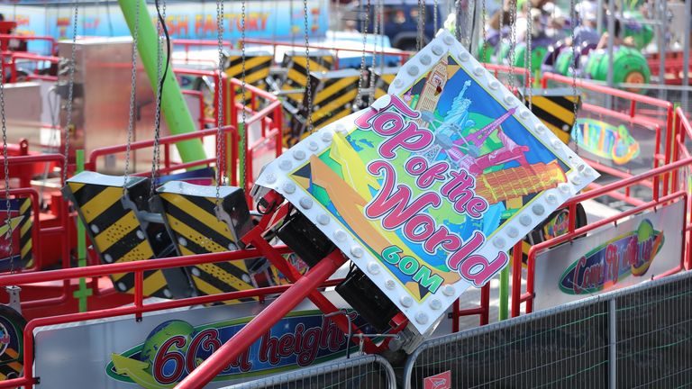 A sign at the edge of the ride could be seen on its side after the incident