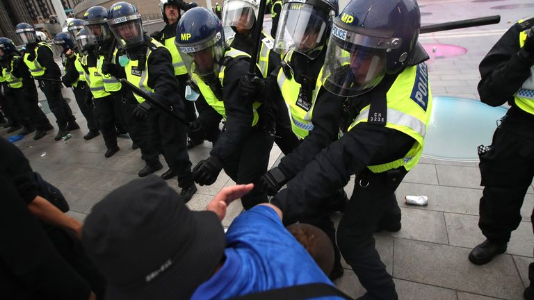 Police and fans outside Wembley