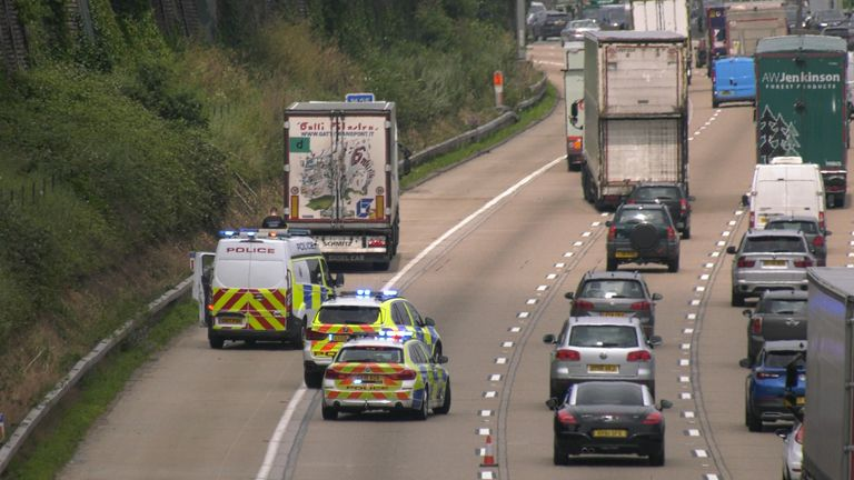 Police stopped the lorry on the M25 near Chertsey on Thursday morning
