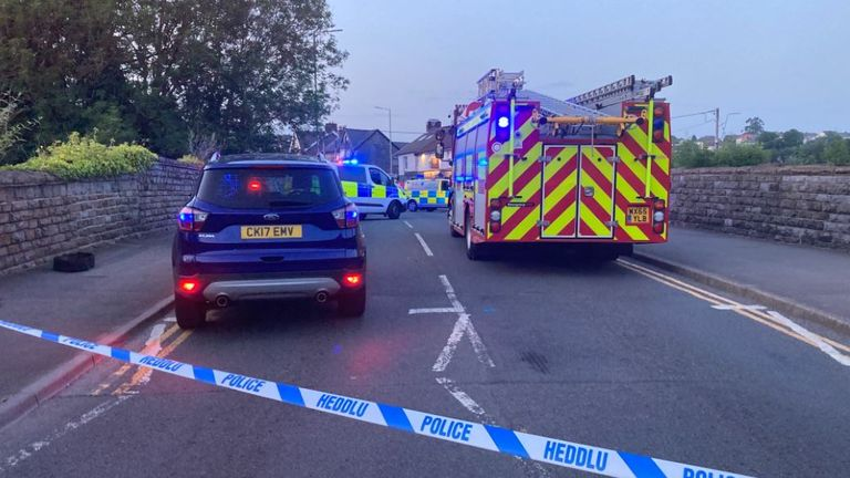 The scene outside a pub in Pontyclun where a car was driven into pedestrians by an elderly man. Pic: @jontutoring