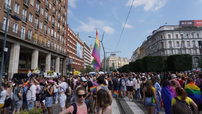 Pride march in Budapest, Hungary 24 July 2021