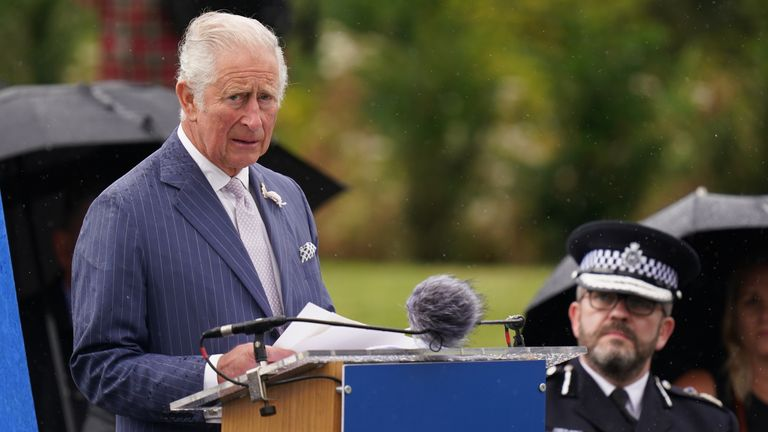 Prince Charles making a speech at the unveiling