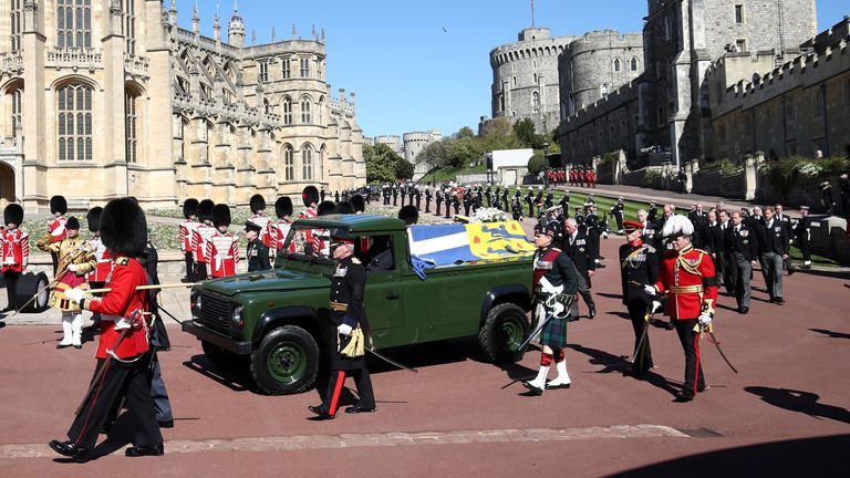 The duke's coffin was carried on a Land Rover at his request