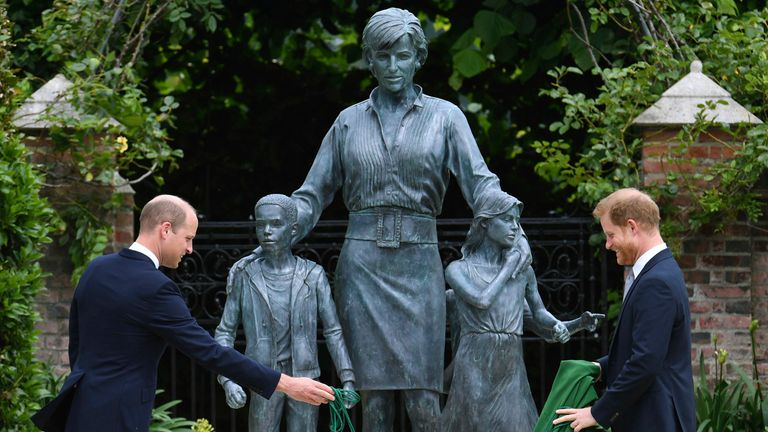 The Duke of Cambridge (left) and Duke of Sussex unveiling a statue they commissioned of their mother Diana, Princess of Wales, in the Sunken Garden at Kensington Palace, London, on what would have been her 60th birthday. Picture date: Thursday July 1, 2021. PA Photo. See PA story ROYAL Diana. Photo credit should read: Dominic Lipinski/PA Wire