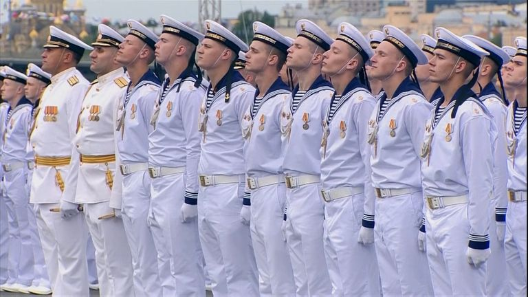 Russian authorities held a naval parade in St Petersburg with dozens of ships, submarines, and planes.