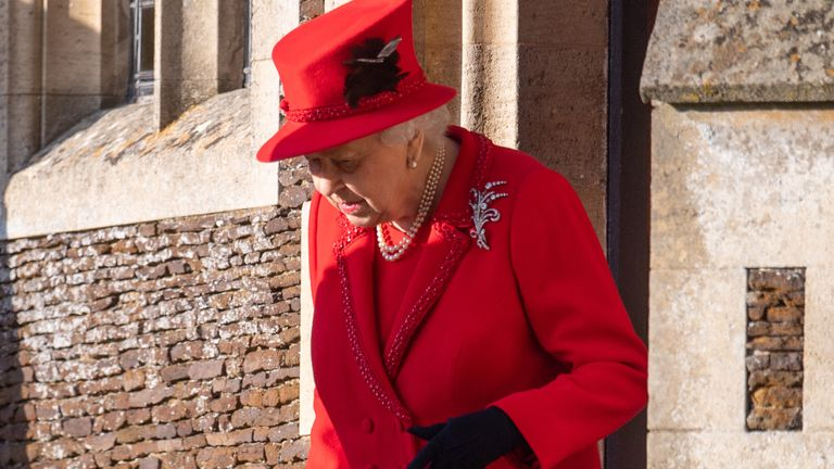 The Queen pictured after attending the Christmas Day service at St Mary Magdalene Church in Sandringham in December 2019