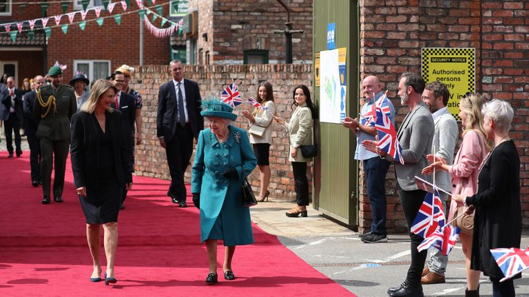 Queen Elizabeth II during a visit to the set of Coronation Street at the ITV Studios in Manchester