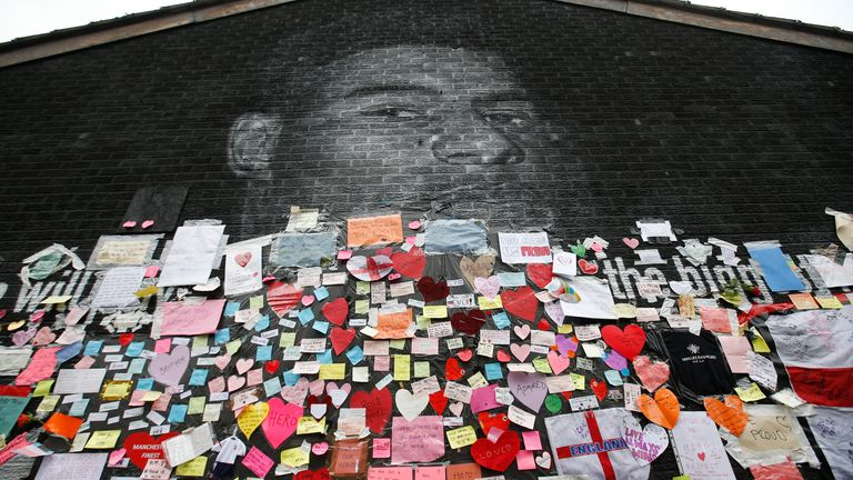 The Marcus Rashford mural has been covered with messages of support