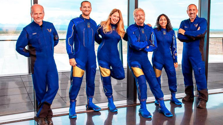 Branson and his team of fellow astronauts. Pic: AP