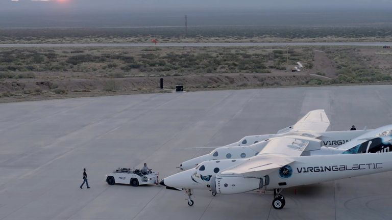 Virgin Galactic's passenger rocket plane, the VSS Unity near Truth and Consequences, New Mexico