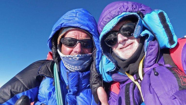 Rick Allan (R) with his climbing partner Sandy Allan on the Mazeno ridge in Pakistan