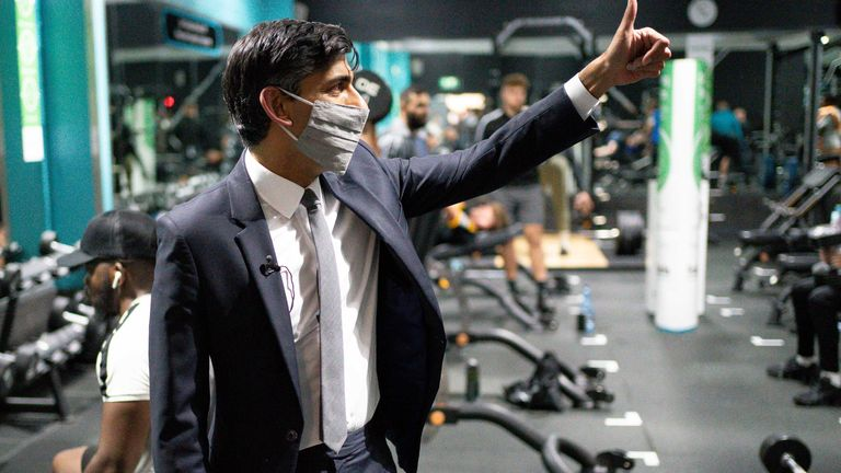Chancellor of the Exchequer Rishi Sunak at Puregym, during a visit to Wolverhampton to mark the one-year anniversary of the Plan for Jobs. Picture date: Wednesday July 7, 2021.
