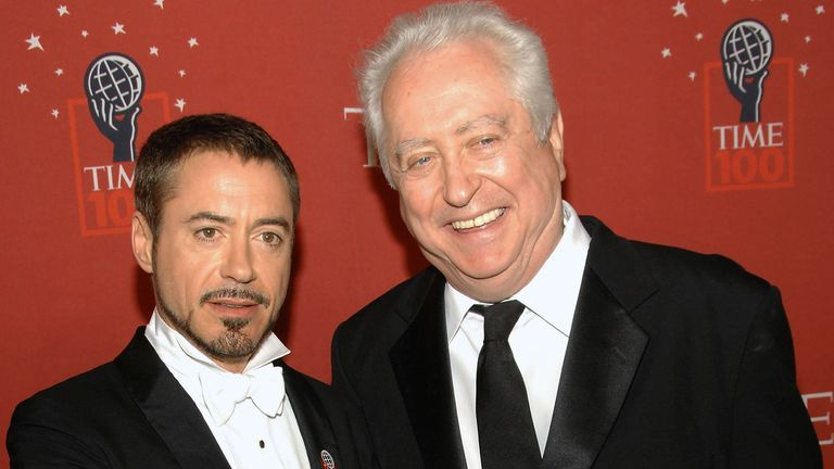 Actor Robert Downey Jr., left, and his father Robert Downey Sr. arrive at Time's 100 Most Influential People in the World Gala on Thursday, May 8, 2008 in New York. (AP Photo/Evan Agostini)