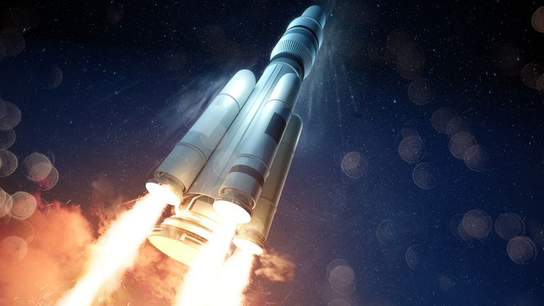 An extreme angle of a rocket launching a probe into space. 3D illustration. IStock photo