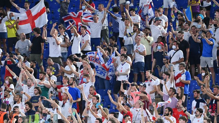Soccer Football - Euro 2020 - Quarter Final - Ukraine v England - Stadio Olimpico, Rome, Italy - July 3, 2021 England fans cheer in the stands after the match Pool via REUTER