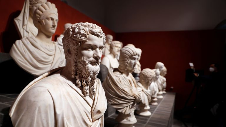 """Statues from the """"Torlonia Marbles"""" are seen during an exhibition that brings together some 96 ancient sculptures comprising of bronze, marble and alabaster statues in Rome, Italy October 12, 2020. REUTERS/Yara Nardi"""